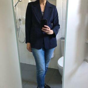 Kate Spade navy silk linen blazer w/ scallop lapel